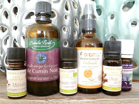 huiles essentielles végétales anti boutons acné