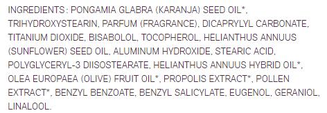 Baume solaire Acorelle INCI composition biotifullpeople